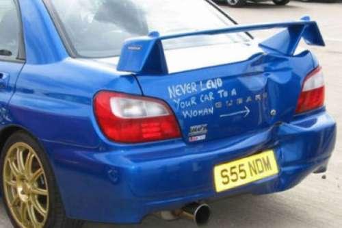 Tak się kończy, pożyczanie auta babie :)